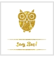 Halloween gold textured owl icon vector image vector image