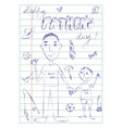 happy fathers day dad and son doodle card vector image vector image