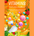 health vitamins in organic vegetables and berries vector image vector image