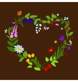 Heart shaped frame with flowers and berries vector image vector image