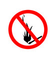 icon ban fire and smoke sign forbidden vector image vector image