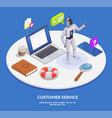 isometric customer service composition vector image