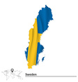 Map of Sweden with flag vector image vector image