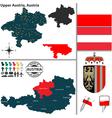 Map of Upper Austria vector image vector image