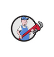 Mechanic Cradling Pipe Wrench Circle Cartoon vector image vector image