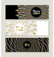 Merry Christmas gold mandala set of banners vector image vector image