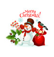 merry christmas snowman gifts icon vector image vector image