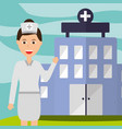 nurse staff professional hospital building vector image vector image