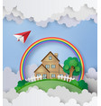 plane fly over the house with rainbow and cloud vector image vector image