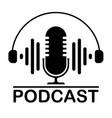 podcast flat icon logo design on white background vector image