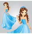 Princess With Crown In Blue Dress vector image