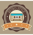 Recorder cassette retro label design vector image