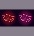 red and pink neon mask vector image