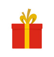 red giftbox icon flat style vector image