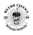 retro cinema emblem with soda cup vector image vector image