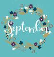 september wreath flowers leaves dandelion grass vector image vector image