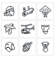 Set of The Vietnam War Icons Soldier vector image vector image