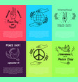 set posters for international peace day vector image