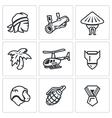 set the vietnam war icons soldier vector image