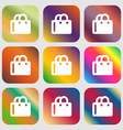 shopping bag icon Nine buttons with bright vector image vector image