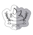sticker arch of leaves and label with silhouette vector image vector image