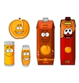 Sunny cartoon peach juice characters vector image vector image