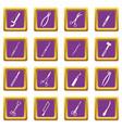 surgeons tools icons set purple vector image vector image