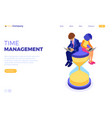 time management with hourglass vector image