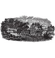 vintage engraving a people on train vector image