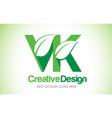 vk green leaf letter design logo eco bio leaf vector image vector image