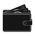 Wallet with cash icon in black style isolated on vector image vector image