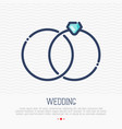 wedding rings thin line icon marital status vector image