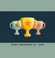 winner trophy gold silver and bronze cups icon vector image