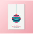 winter holidays cards with trees colorful balls vector image vector image