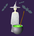 an evil witch in a hat that brews vector image
