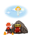 Angel in heaven and devil in hell vector image