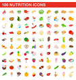 100 nutrition icons set isometric 3d style vector image
