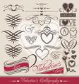 valentines day calligraphic elements