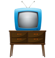 A television above the wooden table vector image
