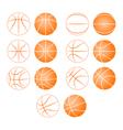 basketball ball silhouette vector image vector image