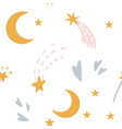 bedtime pattern for kids with stars moon vector image