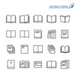 book line icons editable stroke vector image vector image