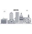 boston united states outline travel skyline vector image vector image