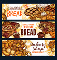 bread and pastry food sketch banner of bakery shop vector image vector image