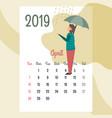 calendar 2019 april calendar calendar vector image vector image