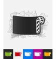 candy cane paper sticker with hand drawn elements vector image