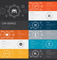 car service infographic 10 line icons banners vector image