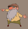 cartoon grandfather with a long beard points his