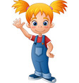 cartoon little girl waving hand vector image