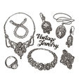 Collection vintage Jewelry Gold and Precious vector image vector image